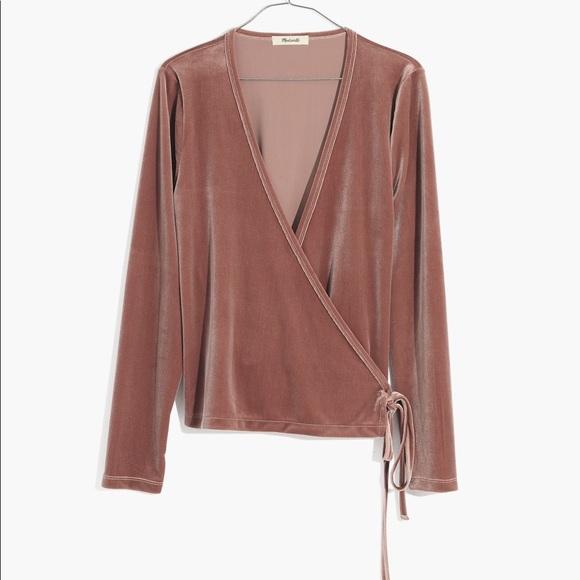 Madewell Tops - *final price* Madewell Velvet wrap top pink